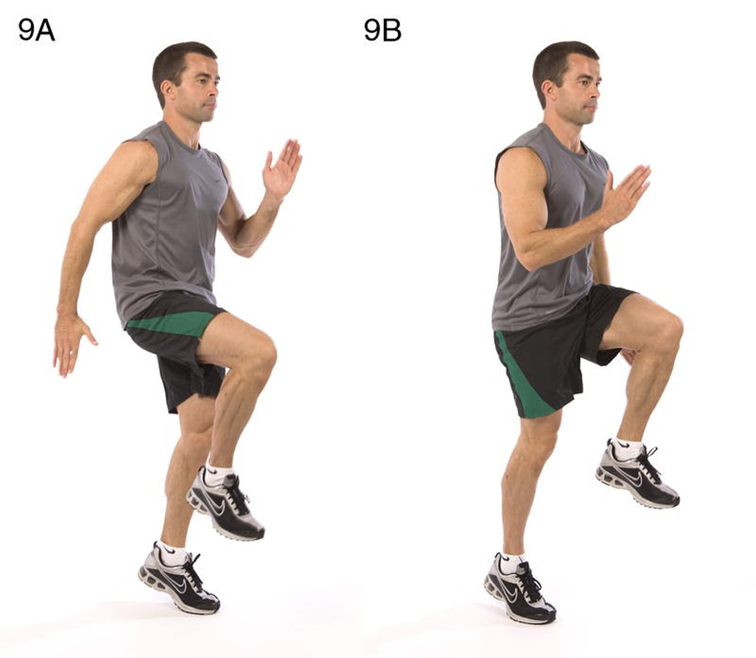 High knees running in place Total body