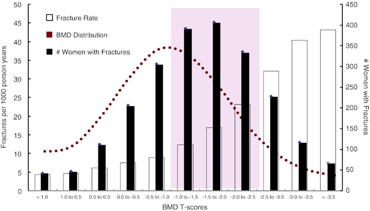 fracture rates according to bone mineral density