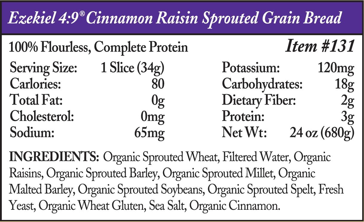 ezekiel bread - cinnamon raisin sprouted grain ingredients