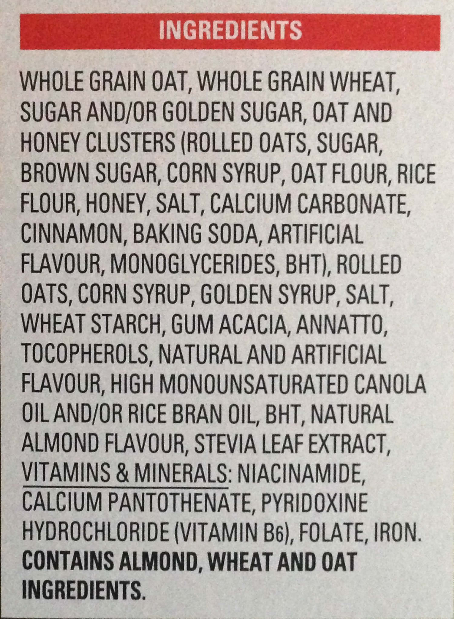 Breakfast cereal ingredients list