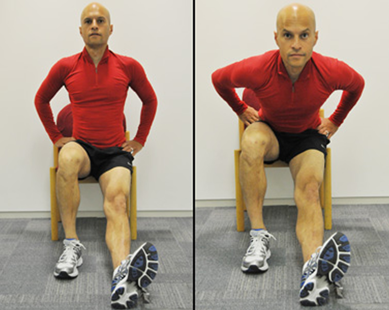 Hamstring stretch with thigh contraction exercise for knee pain