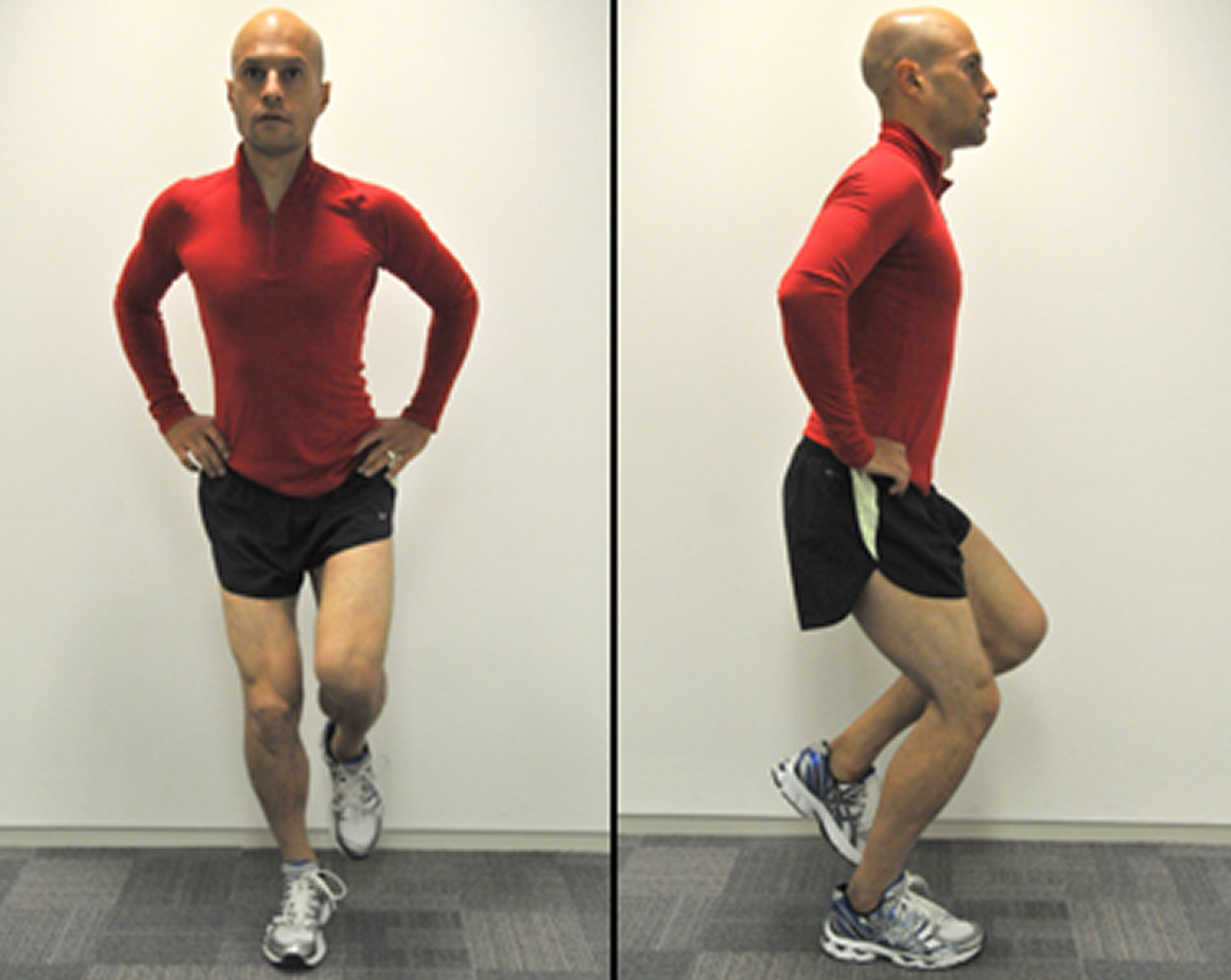 Single leg squat exercise for knee pain