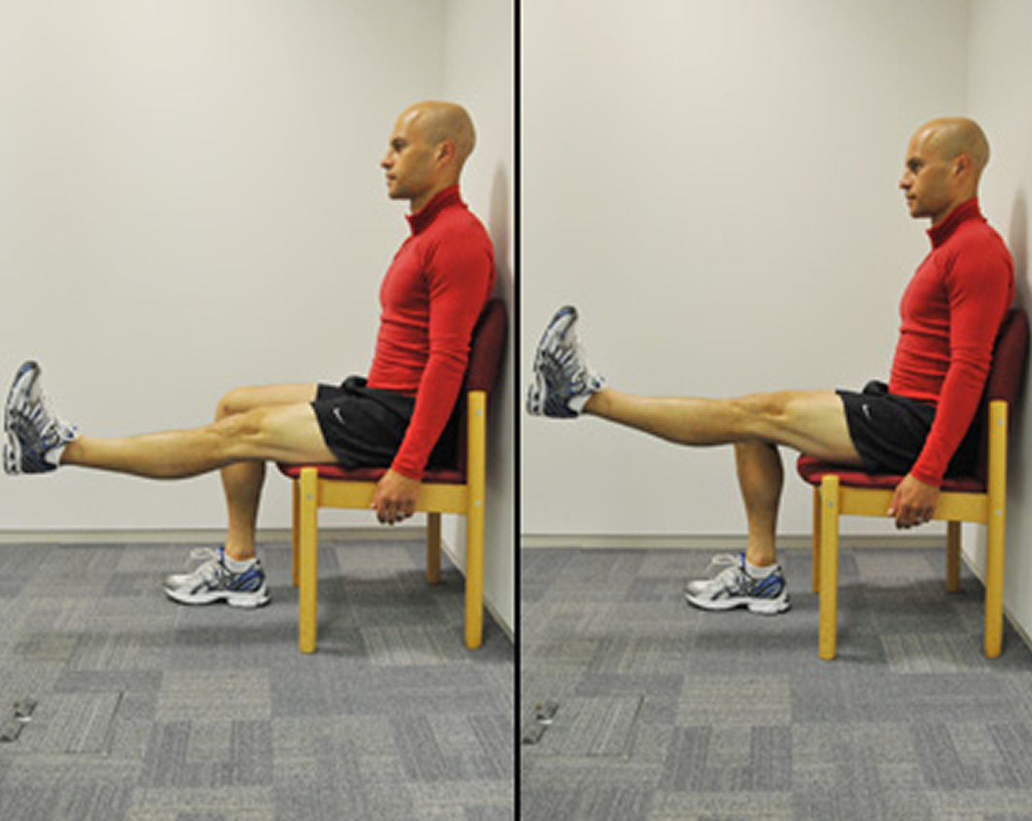 Straight leg raises exercise for knee pain