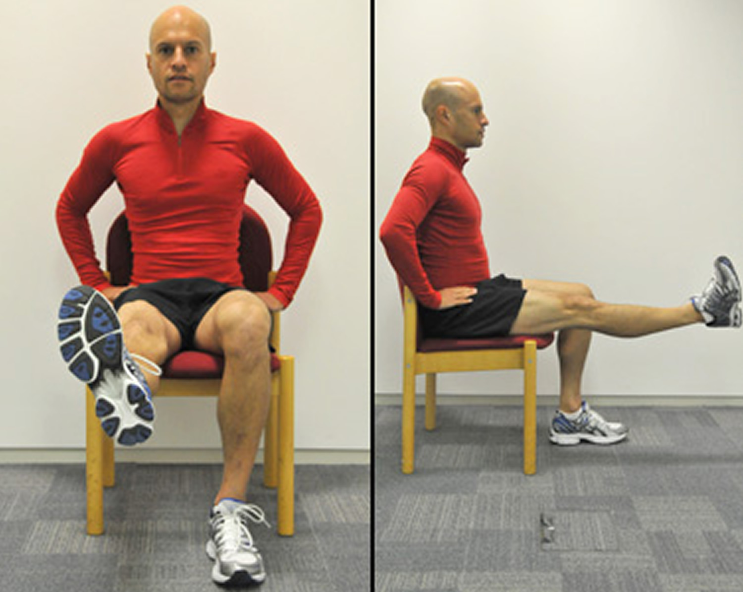 Thigh contraction exercise for knee pain