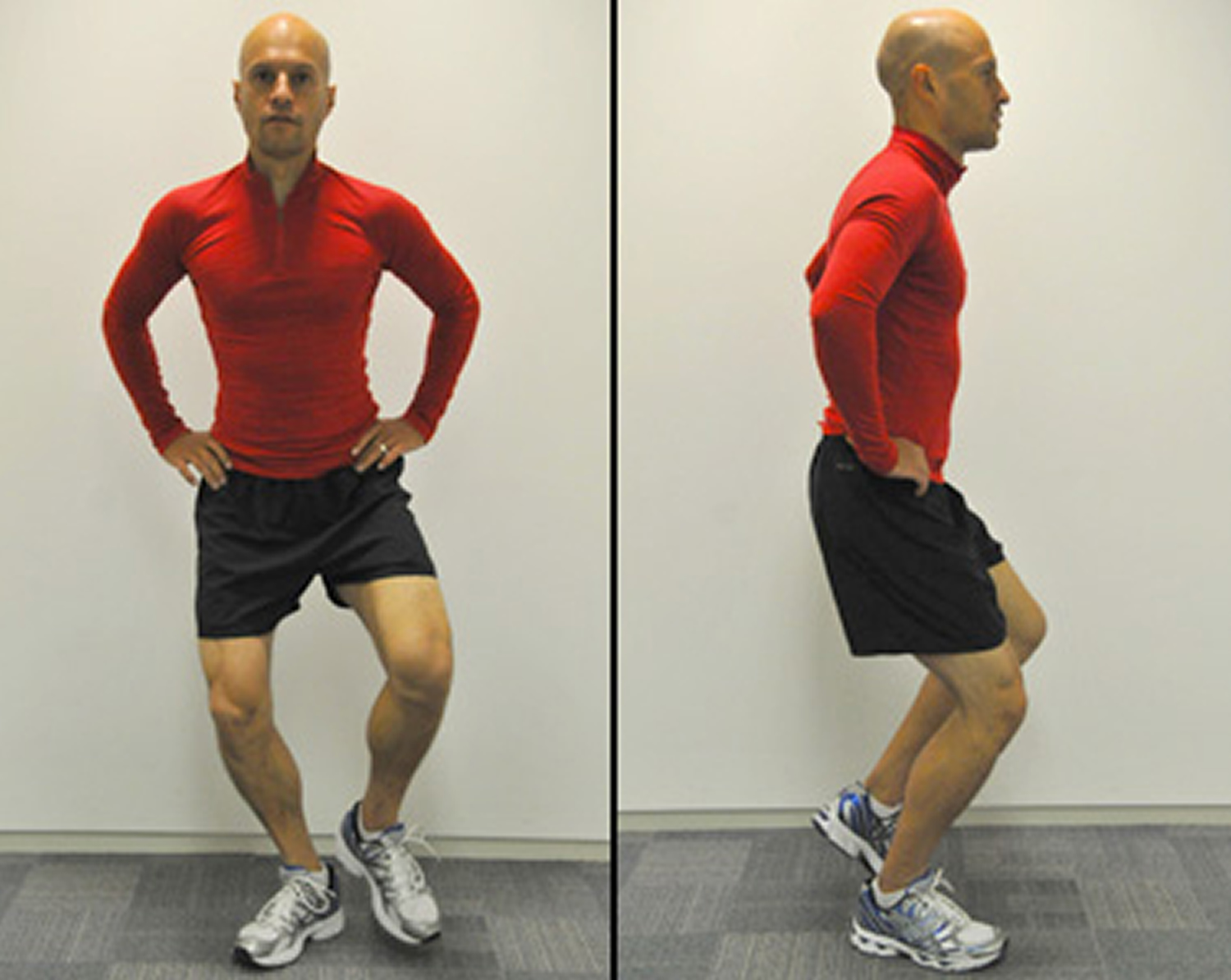 Wide stance single leg squat exercise for knee pain