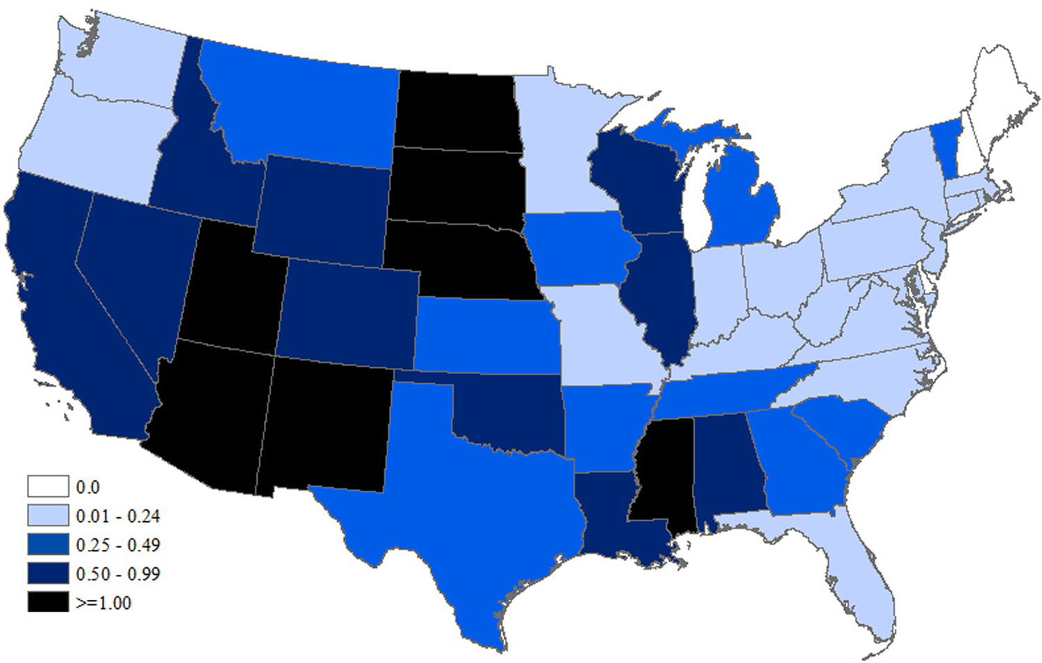 West Nile Virus Neuroinvasive Disease Incidence by State – United States