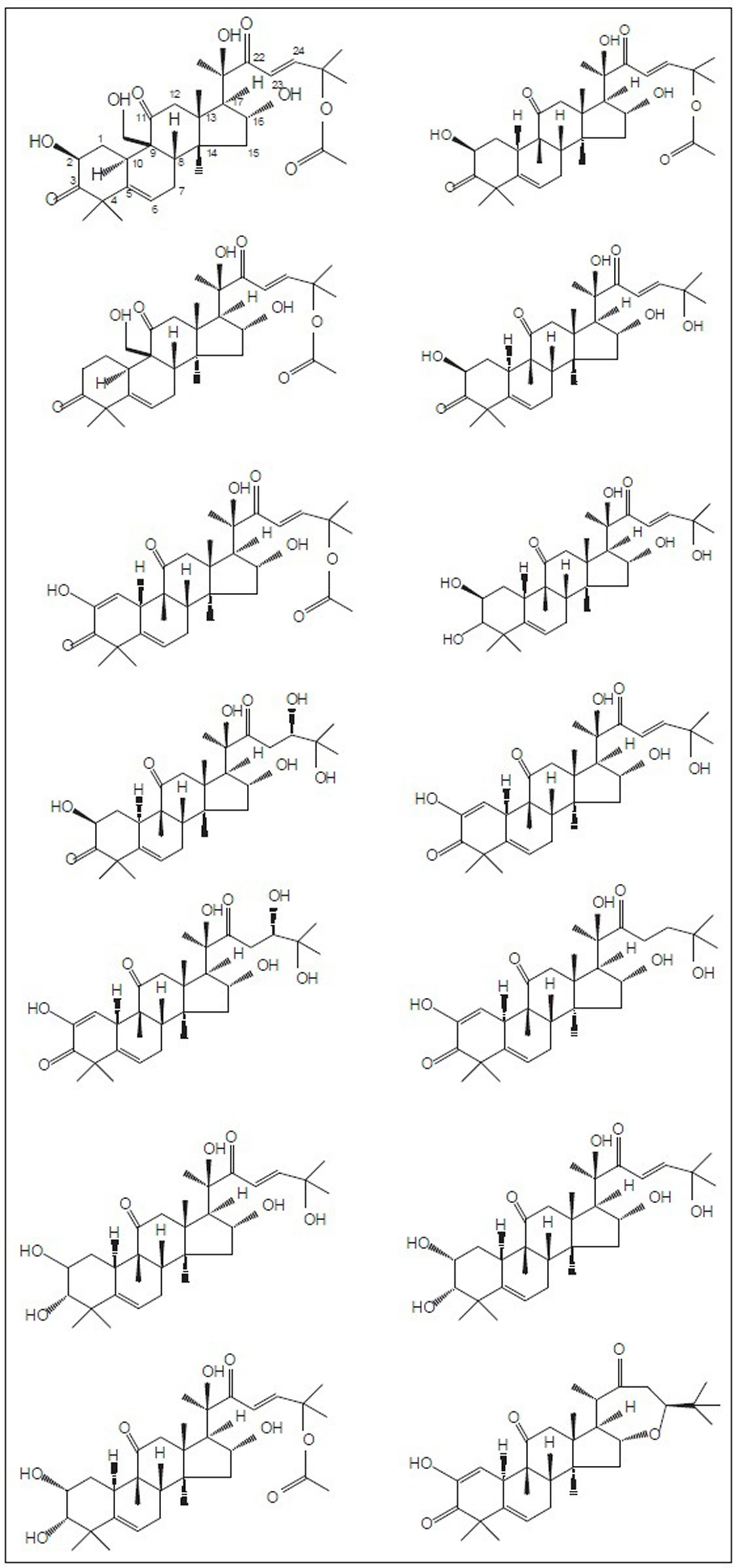 Cucurbitacin analogs chemical structures