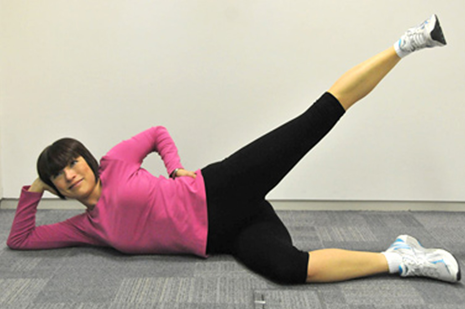 Side-lying leg raise exercise for bad posture