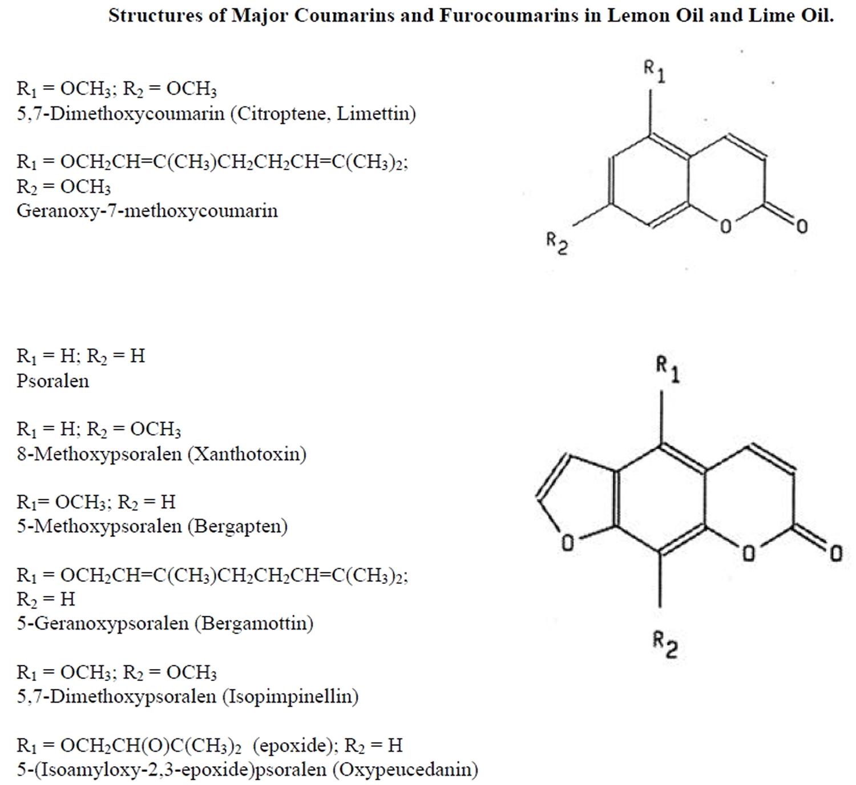 phototoxic components in lemon oil