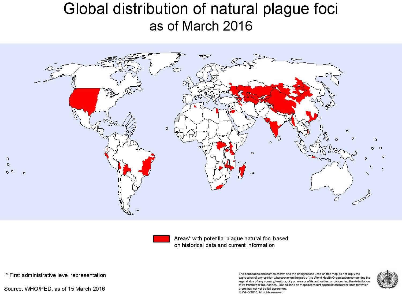 Global distribution of natural plague