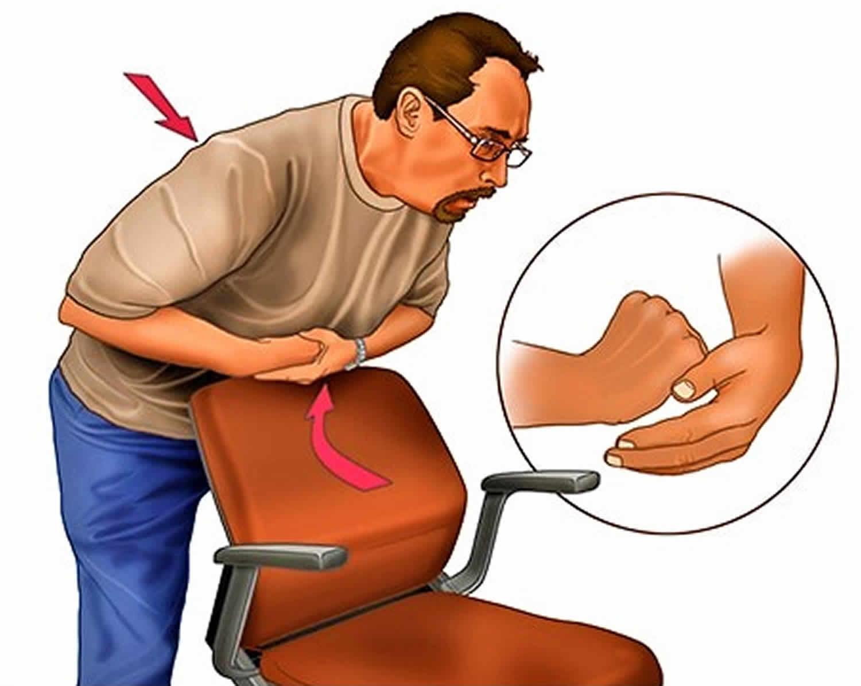 Heimlich maneuver on yourself