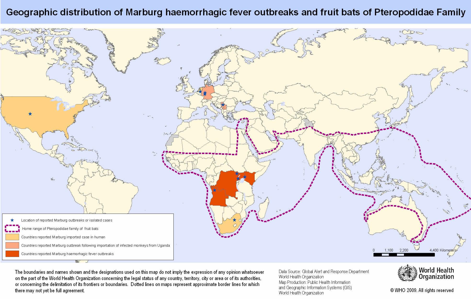 Marburg virus disease outbreak distribution map